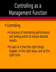 Controlling - A MGT FUNCTION