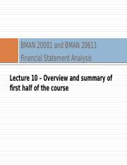 BMAN 20081 Lecture 10 2016 17 recap of 1st half of course.pptx