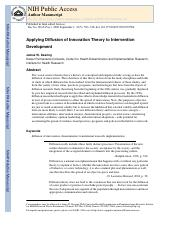 diffusion of innovation theory- Application