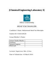 LAB 2 HEAT EXCHANGER