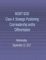 PMBA 6030 Class 4 Strategic Positioning - Cost leadership and differentiation 2017 out.pptx