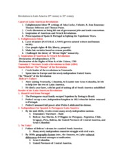 Latin American Revolutions review Sheet,Notes