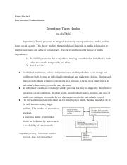 Dependency Theory Presentation Handout