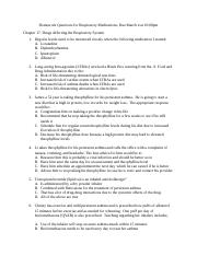 Homework Questions for Respiratory Medications