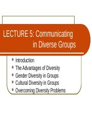 Lecture 5 - Communicating in Diverse Groups