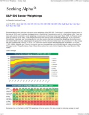 FIN425 - S&P 500 Sector Weightings