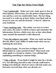 Ten Tips for Stress Free Finals0