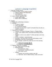 Lecture 2 - Language Acquisition