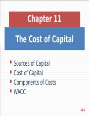 Fin - Ch 11 - Cost of Capital