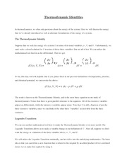 Thermodynamic Identities