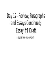 Day 12 – Paragraph - Essay Continued.pptx