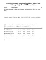Group Project (Self eval and Peer Rating-revised)