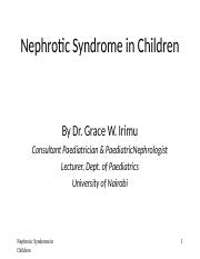 Dr. Irimu - Nephrotic Syndrome.ppt