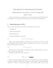 Notes on Instrumental Variables  (1)