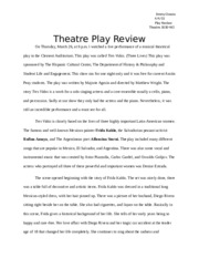 Theatre Play Review