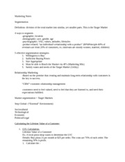 MGMT473_Segmentation and Relationship Notes