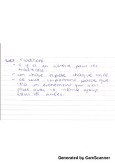 les traditions notes