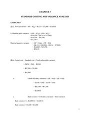 Problem set with solutions: Standard cost accounting