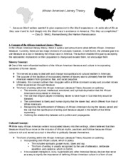 African American Literary Theory handout