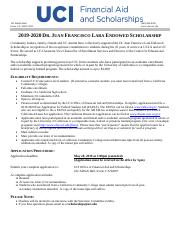 FINAL 2019-20 Dr  Juan Francisco Lara Scholarship Application