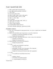 Exam 2: Spanish Study Guide