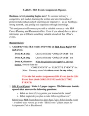 SBA Events Assignment Winter 2014