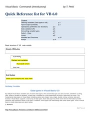 PT1420 -Quick Reference list for VB
