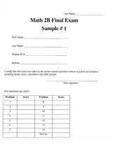 Math 2B sample final 1