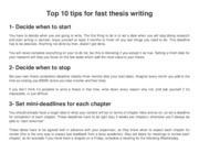 Top 10 tips for fast thesis writing