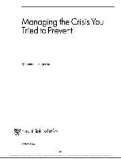 Managing the Crisis You Tried to Prevent