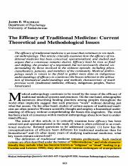 03 Waldram J B (2000) - The Efficacy of Traditional Medicine Current Theoretical and Methodological
