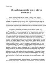 _Should immigrants live in ethnic enclaves?