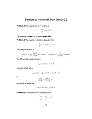 Homework 3 on Differential Equations
