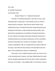 Reaction Paper - Facebook Narcissism