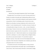 Reaction Essay Concerning the Juxtaposition of Style, Tone and Language