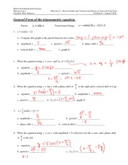 Graphs of Trig Functions Problem Set Solutions