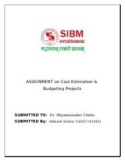 ASSIGNMENT on Cost Estimation.docx