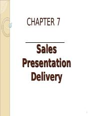 chapter 7 sales presentation delivery