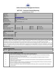 ACCT 221 -Corporate Financial Reporting- Atifa Dar