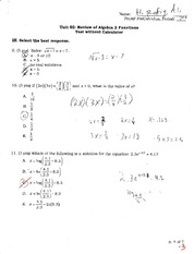 Algebra test review on exponents