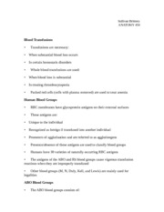 Blood Transfusions Notes