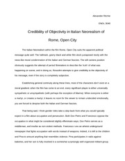 Film Analysis Essay, Credibility of Objectivity in Italian Neorealism of Rome, Open City