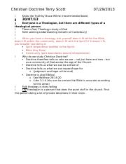 Christian Doctrine Notes
