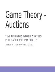 03 Game Theory, part 3, Auctions