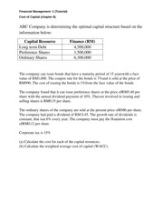 Cost of capital  (tutorial)
