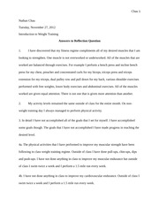Weight training reflection questions