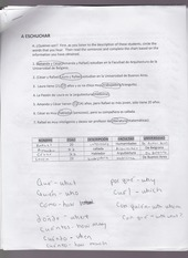 A eschuchar worksheet tense vocabulary