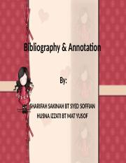 Bibliography & Annotation