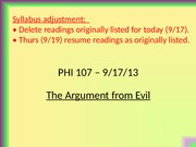 PHI107.Lect.9.17.13.Argument from Evil