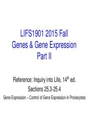 LIFS1901 2015 Fall Genes and Gene Expression II